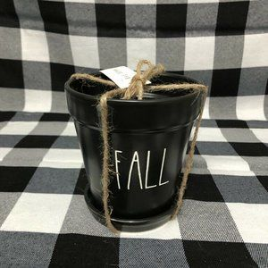 Rae Dunn Black Ceramic Fall Small Planter Pot LL